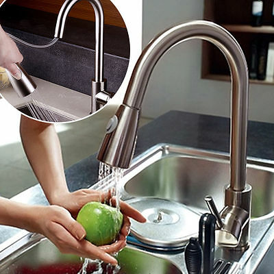 Kitchen Swivel Dual Spout Sink Faucet Finish Nickel Pull Out Spray Mixer Tap