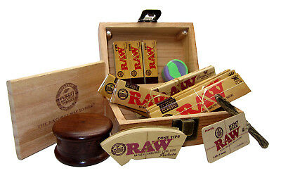 Raw Wooden Rolling Box Set King Size Papers Herb Grinder Hemp Wick Filter Tips