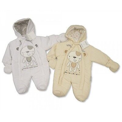 Premature Baby Unisex Boy Girl Snowsuit all in one Pramsuit NB Tiny White Cream