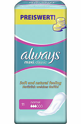 5 X 11 Always Maxi Classic Women's  Sanitary Towels Pads Soft & Natural Normal