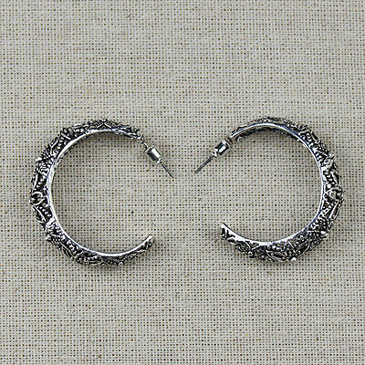 Retro Vintage Antique Silver Hollow Out iFiligree Hoop Earrings For Women Unique