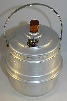 Antique Edwardian Billy Can Lunch Tin Amber Bakelite Finial Domine Dirige Nos