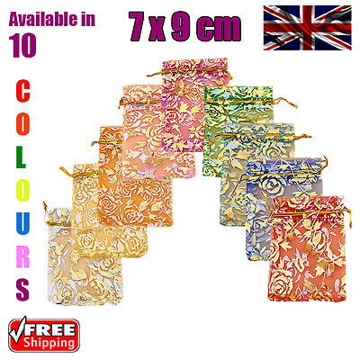 7 x 9 cm Rose Organza Gift Wedding Favour Bags Jewellery Pouch in 10 Colours