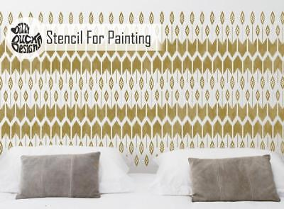 MOHAWK Bohemian American Indian Stencil - Furniture Wall Floor Stencil for Paint
