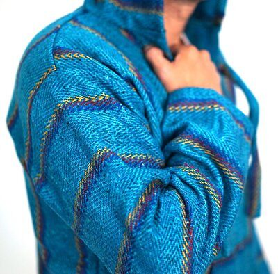 Baja Hoodie Drug Rug Jacket Pullover Poncho Mexican Threads S-3XL Turquoise