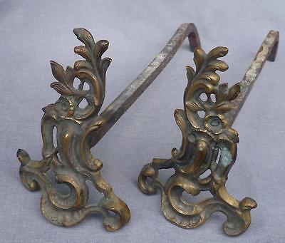 Louis XV style pair of chenets fireplace decoration France made of bronze