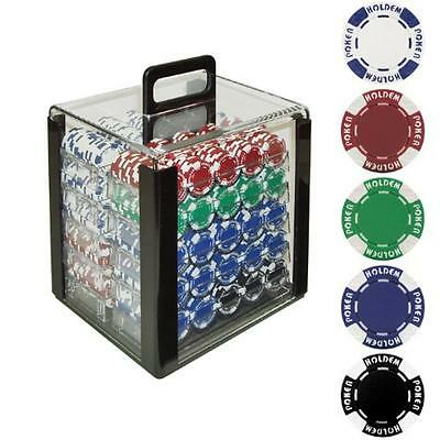 Trademark Poker 1000 Holdem Poker Chip Set with Acrylic Carrier, 11.5gm, New, Fr