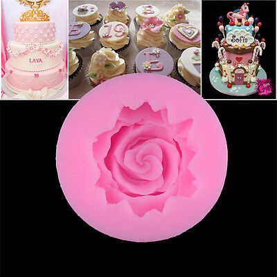 3D Rose Flower Fondant Cake Mold Chocolate Silicone Soap Candles Decorating DIY