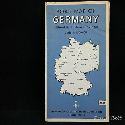 Vintage Road Map of Germany without its Eastern Provinces Sale 1:1500 000