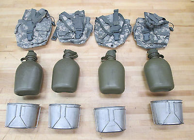 {4} US MILITARY 1 QUART CANTEENS, DIGITAL Camo Covers & CUPS ~Gently Used~