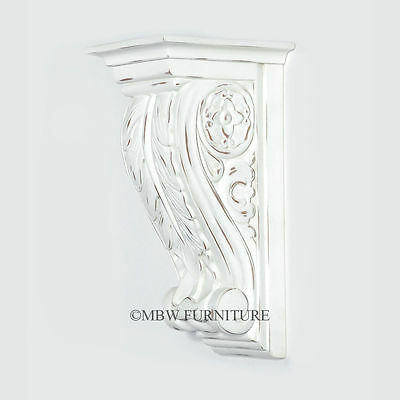 Solid Mahogany Distressed White Carved Scrolled Wall Corbel Sconce