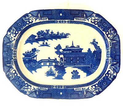 C1800 Antique Chinoiserie English Blue & White Pearlware Charger Plate Platter