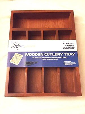 Cutlery Tray Organizer Kitchen Drawer Wooden Holder Storage 5 Compartments