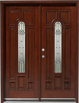 HOLIDAYS SALE!!Solid Wood Mahogany Front Unit Pre-hung &Finished DMH7525-5 GL02