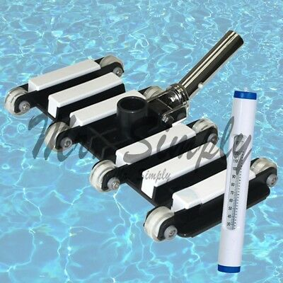 """Professional 14"""" Heavy-duty Vacuum Pool Swivel Metal Handle White Thermometer"""