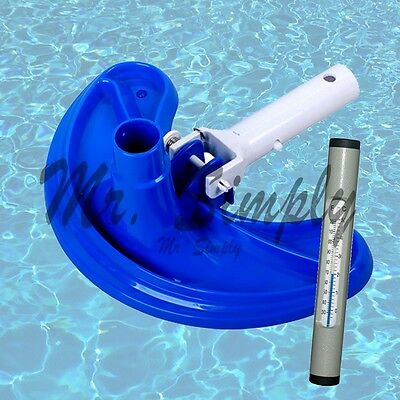 Deluex Curved Vacuum Head Cleanner For Pool Spa Cleaning ABS Gray Thermometer