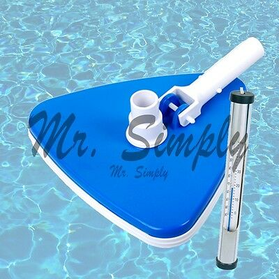 Triangle Vacuum Head Swimming Pool Spa Bumper Cleaner Brush Brass Thermometer