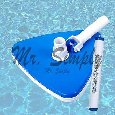 Triangle Vacuum Head Swimming Pool Spa Bumper Cleaner Brush White Thermometer