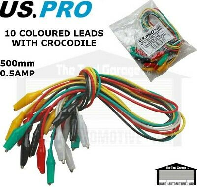 BERGEN Tools 10pc Coloured Test Leads With Crocodile Clips NEW 6644