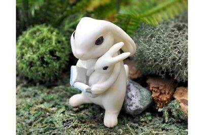 Miniature Dollhouse FAIRY GARDEN - Bunny Reading To Baby - Accessories