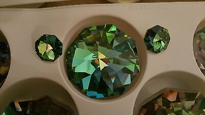 RARE Vintage Swarovski Peacock Vitrail SET of 3  8015 Octagon LOT 1×40mm  2×14mm