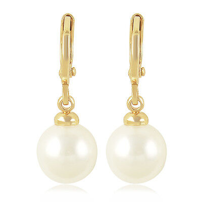 Wedding Noble 9K Solid Gold Filled Pearl Women's Dangle earing Free Shipping