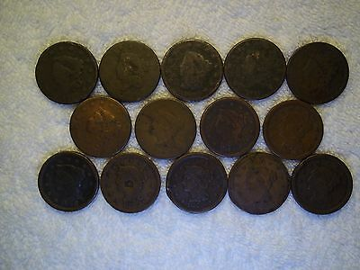 1817 - 1854 Large Cent  lot of 14 coins well circulated #9.84.59