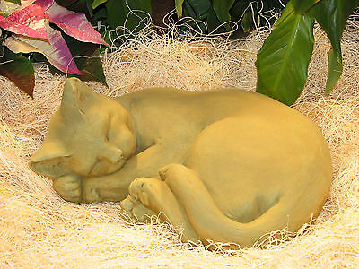 "Large CURLED CAT STATUE Outdoor Garden SLEEPING KITTEN 12"" CEMENT Decor NO RESIN"