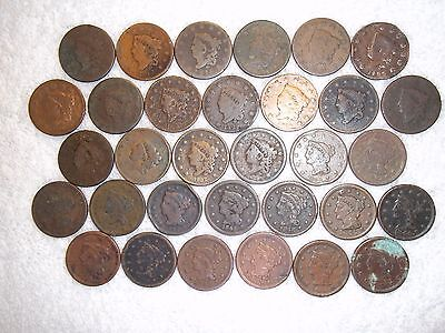 1816 - 1854 Large Cents  lot of 32 coins well circulated #11.224.159