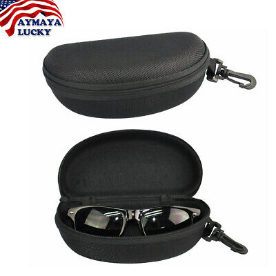 Portable BLACK Zipper Sunglasses Eye Glasses Carry Box Hard Case Protector Shell