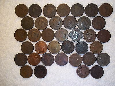 1816 - 1856 Large Cents  lot of 37 coins well circulated #15.296.207