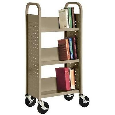 "Sandusky Lee SL33017-04 Single Sided Sloped Shelf Book Truck, 14"" Length, 18"" Wi"