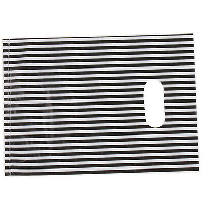 100* White&Black Stripe Plastic Carrier Bags Fit Shopping Boutique Store Package