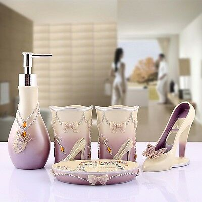 Modern Sets High heels Bathroom Accessory Lady Accessories 5pcs Dish