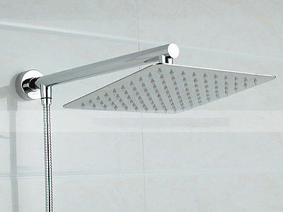 8 inch Square Stainless Steel Shower Head with Extension Arm Bottom Entry Hose