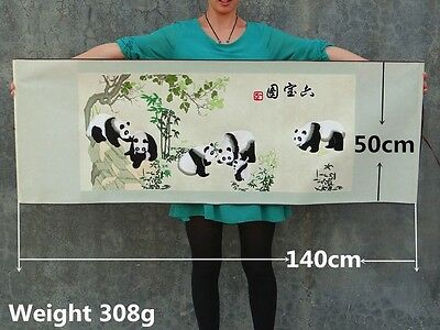 Chinese Hanging Embroidery Murals Panda - Home Decorations 六寶圖