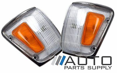 Toyota Hilux LH + RH Indicators Corner Lights 4wd 1988-1991 Chrome Surround *New