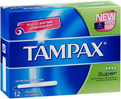 12pc Tampax Tampons Super Anti Leak Absorbency Protection w/ Plastic Applicator