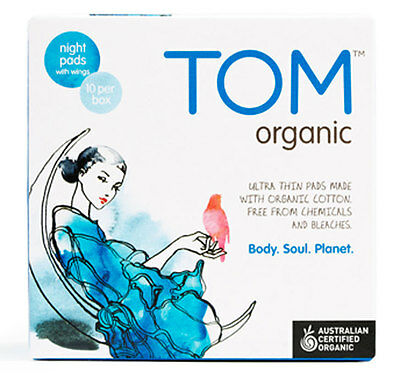 New 10 Pieces TOM Organic Ultra Thin Night Pads Napkins w/ Wings Hypoallergenic