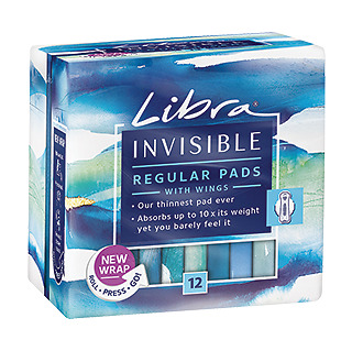 Libra Invisible Regular Pads With Wings X 12