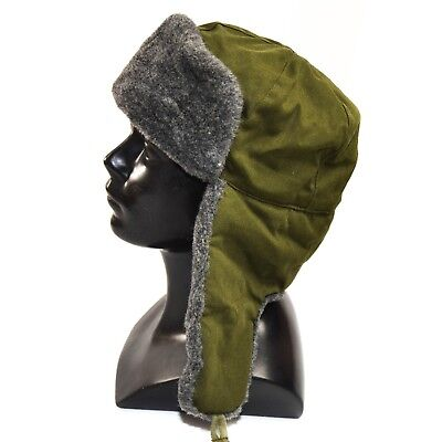 Original CZ Czech army cap military winter hat Ushanka grey olive hat