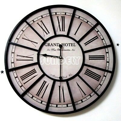 Roman Numeral Wall Clock Black Metal Indoor Outdoor Outside Room Large Ticking