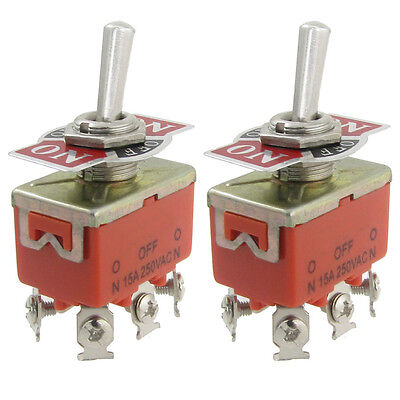 FP 2 Pcs Metal Resin AC 250V 15A Amps ON/OFF/ON 3 Position DPDT Toggle Switch