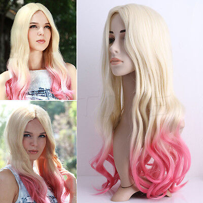 Cosplay Party Wig Ombre Pink/Blonde Long Wavy Lace Front Wigs For Lady