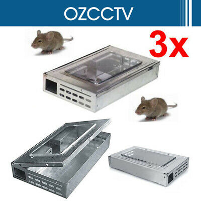 3x Multiple Mouse Live Catch Humane Safe Self Catching Metal Trap Mice AU SHIP