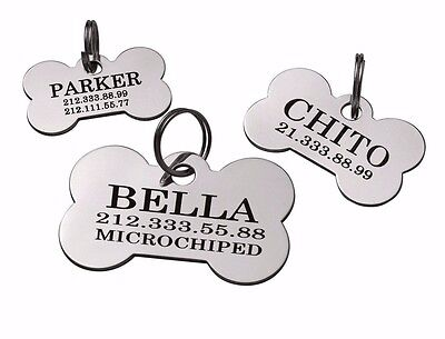 Bone Dog Tag Custom Engraved Personalized ID Brass Steel Single or Dual Side