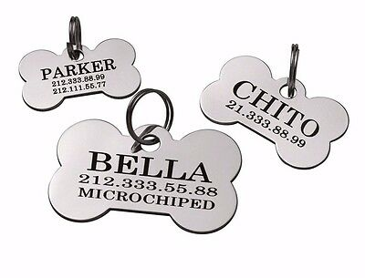 Bone Dog Tag Custom Engraving Personalized ID Brass Steel Single or Dual Side