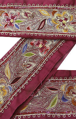 1YD Vintage Indian Sari Border Used Embroidered Trim Sewing Magenta Ribbon Lace