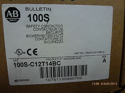 Allen-Bradley 100S-C12T14BC Safety Contactor 10781180940702 600V 12A New