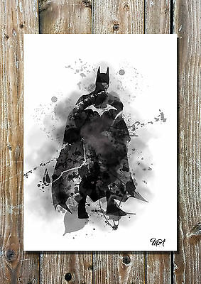 Batman Inspired Art Print The Dark Knight DC Comics Movies Illustration Wall Art